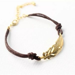 Jewelry - Friendship Leaf Leather Anklet